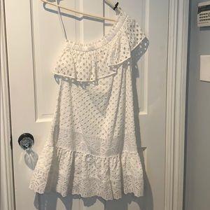 One shoulder summery white dress